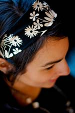 Photo of model wearing Betty Band Handmade Headband.